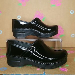 Dansko Professional Black Patent Leather Clogs 6